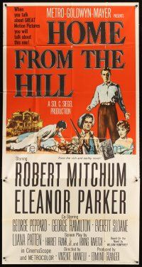 4s672 HOME FROM THE HILL 3sh '60 art of Robert Mitchum, Eleanor Parker & George Peppard!