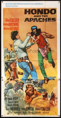 4s673 HONDO & THE APACHES int'l 3sh '67 art of Ralph Taeger fighting Native American Indians!