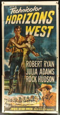 4s674 HORIZONS WEST 3sh '52 Budd Boetticher, art of Robert Ryan, Julia Adams & Rock Hudson!