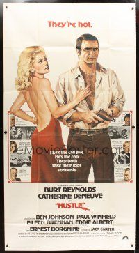 4s678 HUSTLE int'l 3sh '75 Robert Aldrich, art of Burt Reynolds & sexy Catherine Deneuve!