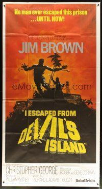 4s680 I ESCAPED FROM DEVIL'S ISLAND int'l 3sh '73 different art of Jim Brown jumping from cliff!