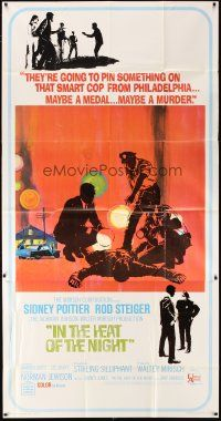 4s683 IN THE HEAT OF THE NIGHT 3sh '67 Sidney Poitier, Rod Steiger, Warren Oates, cool crime art!