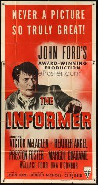 4s684 INFORMER 3sh R55 John Ford, great close up art of angry Victor McLaglen!