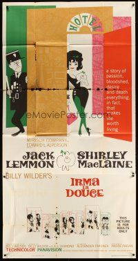 4s686 IRMA LA DOUCE 3sh '63 Billy Wilder, great art of Shirley MacLaine & Jack Lemmon!