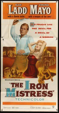 4s687 IRON MISTRESS 3sh '52 Alan Ladd as Jim Bowie throwing knife & sexy Virginia Mayo!