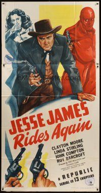 4s689 JESSE JAMES RIDES AGAIN 3sh '47 cool art of Clayton Moore w/smoking gun, Republic serial!