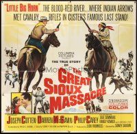 4s258 GREAT SIOUX MASSACRE 6sh '65 Joseph Cotton, Darren McGavin, where Indian arrows met cavalry!