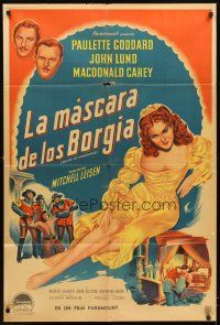 4s131 BRIDE OF VENGEANCE Argentinean '49 art of sexy Paulette Goddard, John Lund, Macdonald Carey!