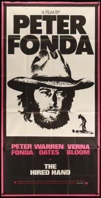 4s011 HIRED HAND English 3sh '71 huge headshot of star & director Peter Fonda in cowboy hat!