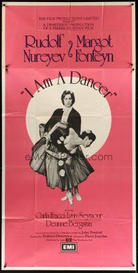 4s012 I AM A DANCER English 3sh '72 Rudolf Nureyev, Margot Fonteyn, cool art of dancing couple!