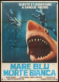 4s339 BLUE WATER, WHITE DEATH red shark Italian 1p '71 art of red shark & divers by Fiorenzi!