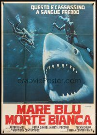 4s340 BLUE WATER, WHITE DEATH blue shark style Italian 1p '71 art of blue shark & divers by Fiorenzi!