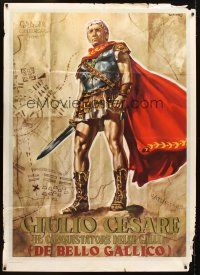 4s343 CAESAR THE CONQUEROR Italian 1p '62 best art of Cameron Mitchell as Julius Caesar by Casaro!