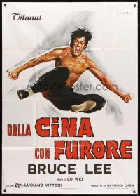 4s348 CHINESE CONNECTION Italian 1p R1970s Lo Wei's Jing Wu Men, kung fu Bruce Lee, art by Ciriello!