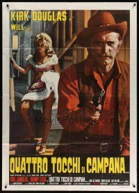 4s398 GUNFIGHT Italian 1p '71 completely different c/u of Kirk Douglas w/ gun & sexy Karen Black!
