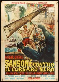 4s401 HERCULES & THE PIRATES Italian 1p '64 Sansone contro il corsaro nero, art of Sergio Ciani!