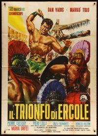 4s402 HERCULES VS. THE GIANT WARRIORS Italian 1p '64 Casaro art of Hercules fighting!