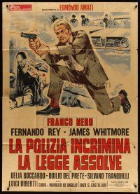 4s403 HIGH CRIME Italian 1p '73 art of Italian cop Franco Nero kneeling & firing his gun!