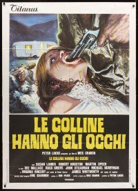 4s404 HILLS HAVE EYES Italian 1p '78 Wes Craven, wild different art of girl with gun in mouth!