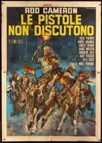 4s030 BULLETS DON'T ARGUE Italian 2p '64 art of Rod Cameron & cowboys by Rodolfo Gasparri!