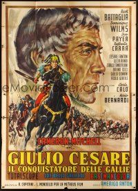 4s031 CAESAR THE CONQUEROR Italian 2p '62 best art of Cameron Mitchell as Julius Caesar by Casaro!