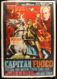 4s032 CAPTAIN FALCON Italian 2p '58 cool art of Lex Barker on horseback with bow & arrow by Rene!