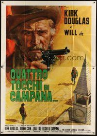 4s055 GUNFIGHT Italian 2p '71 different art of Kirk Douglas by Averardo Ciriello!