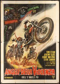 4s057 HELL'S ANGELS '69 Italian 2p '70 art of biker gang in the rumble that rocked Las Vegas!