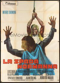 4s059 IVANHOE, THE NORMAN SWORDSMAN Italian 2p '71 cool artwork of Mark Damon attacking man!