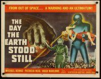 4t028 DAY THE EARTH STOOD STILL 1/2sh '51 Robert Wise, classic art of Gort holding Patricia Neal!