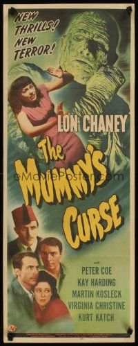 4t122 MUMMY'S CURSE insert '44 great image of bandaged Lon Chaney Jr. menacing pretty girl!