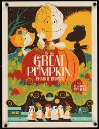 4t013 IT'S THE GREAT PUMPKIN, CHARLIE BROWN signed & numbered 18x24 art print '11 by Tom Whalen!