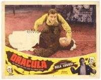 4w179 DRACULA LC #6 R51 Tod Browning, c/u of crazed Dwight Frye kneeling over unconscious maid!