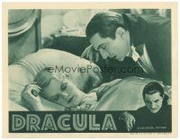 4w176 DRACULA LC R38 creepy vampire Bela Lugosi leans over Frances Dade sleeping in bed!
