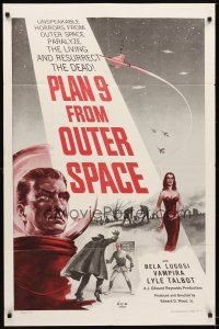 4w695 PLAN 9 FROM OUTER SPACE 1sh '58 directed by Ed Wood, arguably the worst movie ever!