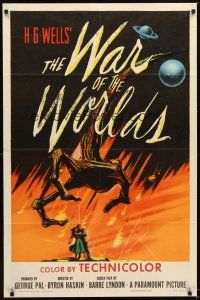 4w488 WAR OF THE WORLDS 1sh '53 H.G. Wells classic produced by George Pal, incredible art!