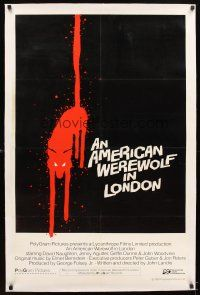 4x058 AMERICAN WEREWOLF IN LONDON linen int'l 1sh '81 different art of bloody wolf, ultra-rare!