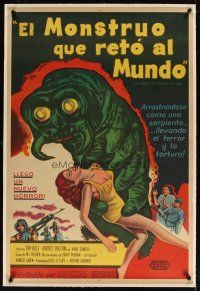 4x057 MONSTER THAT CHALLENGED THE WORLD linen Argentinean '57 cool art of creature & victim!