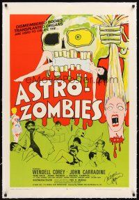 4x059 ASTRO-ZOMBIES linen signed 1sh '68 by Wayne Rogers, Ted V. Mikels, great wild monster art!