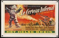 4x046 INVISIBLE BOY linen Belgian '57 great artwork of entire army attacking Robby the Robot