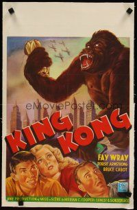 4x048 KING KONG linen Belgian R60s cool art of the giant ape + Fay Wray, Robert Armstrong & Cabot!