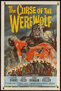 4x064 CURSE OF THE WEREWOLF linen 1sh '61 Hammer, art of Oliver Reed holding victim by Joseph Smith