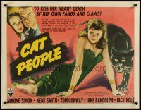 4x002 CAT PEOPLE style B 1/2sh '42 Val Lewton, different image of sexy Simone Simon, ultra rare!