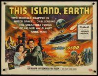 4x040 THIS ISLAND EARTH linen style B 1/2sh '55 challenging furies of an outlaw planet gone mad!