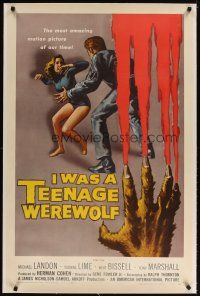 4x070 I WAS A TEENAGE WEREWOLF linen 1sh '57 AIP classic, great art of monster attacking sexy babe!