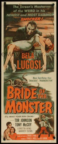 4x005 BRIDE OF THE MONSTER insert '56 Ed Wood, great art of Bela Lugosi carrying sexy girl!