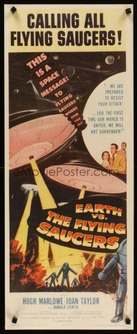 4x006 EARTH VS. THE FLYING SAUCERS insert '56 sci-fi classic, cool art of UFOs & aliens!