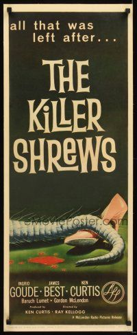 4x007 KILLER SHREWS insert '59 classic horror art of all that was left after the monster attack!
