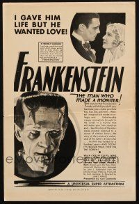 4x038 FRANKENSTEIN tear sheet '31 I gave the monster life but he wanted love, great image!