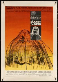 4x075 PLANET OF THE APES linen 1sh '68 Charlton Heston, classic sci-fi, cool art of caged humans!